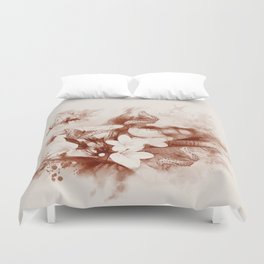 Sepia toned tropical flowers and butterflies Duvet Cover