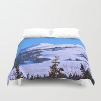 skiing Duvet Covers featuring Back-Country Skiing  - IV by Alaskan Momma Bear