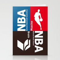 nba Stationery Cards featuring NBA. Muscles or Brain ? by Vintage Deco Print Posters