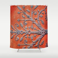 gothic Shower Curtains featuring Gothic Red Door by Joke Vermeer