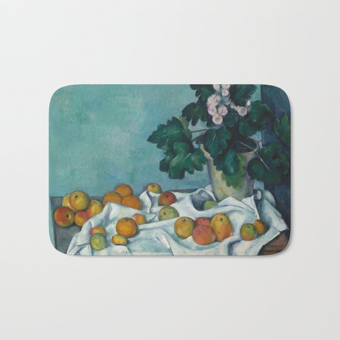 Paul Cézanne - Still Life with Apples and a Pot of Primroses (1890) Bath Mat