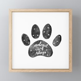 Adopt don't shop galaxy paw - black and white Framed Mini Art Print