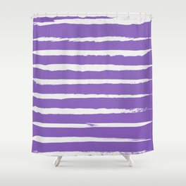 Irregular Hand Painted Stripes Purple Shower Curtain