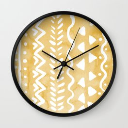 Loose bohemian pattern - yellow Wall Clock