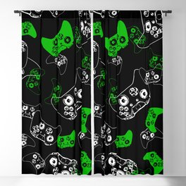 Video Game Black & Green Blackout Curtain