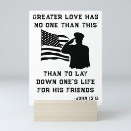 Honor Remember Memorial Military American Flag / Bible Verse design Mini Art Print