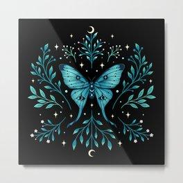 Mystical Luna Moth - Turquoise Metal Print