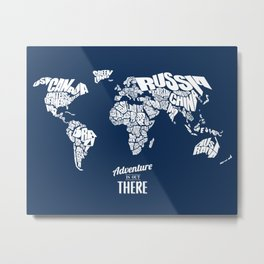 Adventure Is Out There - World Word Map with Travel Quote Metal Print