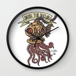 Octopus Diver Wall Clock