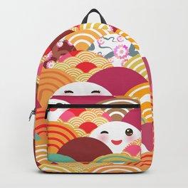 Kawaii Nature background with japanese sakura flower, wave pattern Backpack