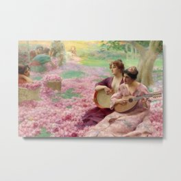 """""""The Rose Festival"""" bed of roses portrait painting by Henry Siddons Mowbray Metal Print"""