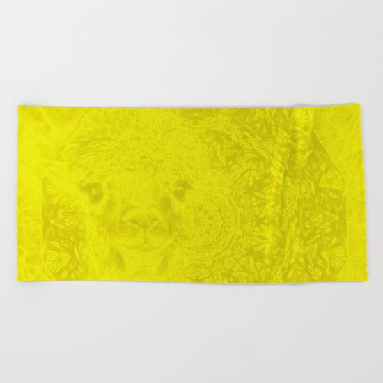 Ghostly buttercup yellow alpaca and mandala Beach Towel