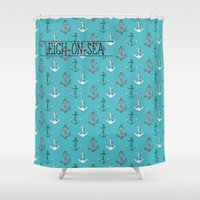 anchors Shower Curtains featuring anchors blue by Cat Milchard