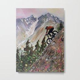Downhill Biker Metal Print