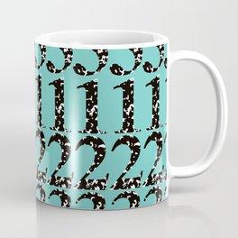 Postmodern Numbers in Marble Composition Notebook + Teal Coffee Mug