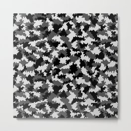 Camouflage Digital Black and White Metal Print