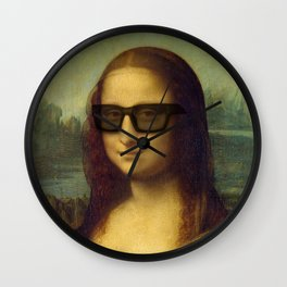 Hipster Mona Lisa in her Hipster Shades Wall Clock