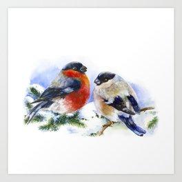 Bullfinches in winter time. Christmas Watercolor Art Art Print