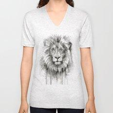 Lion Watercolor Animal Unisex V-Neck