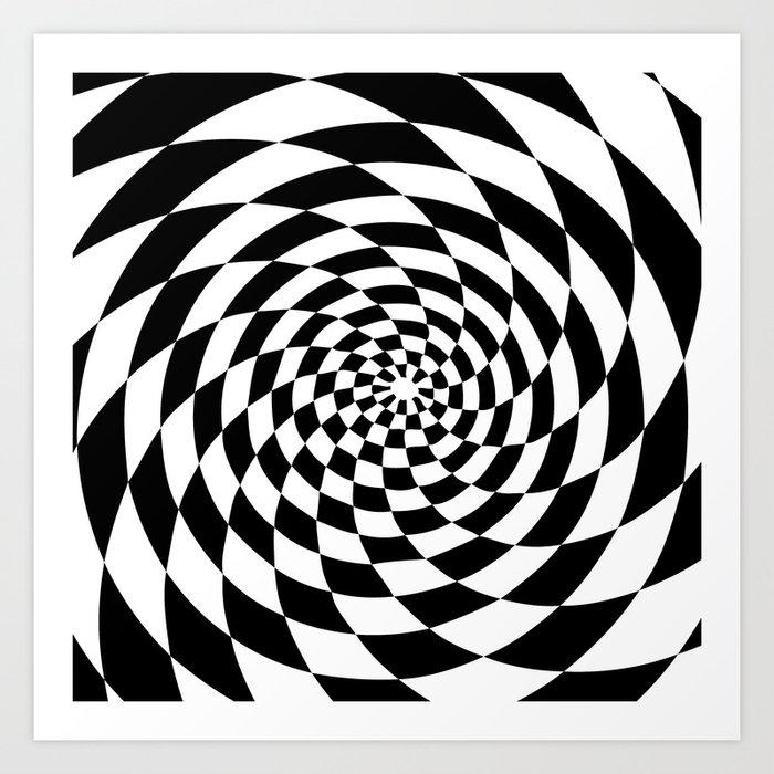 Optical illusion op art black and white retro style art print