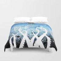 kraken Duvet Covers featuring Kraken Watercolor by Beth Naeyaert