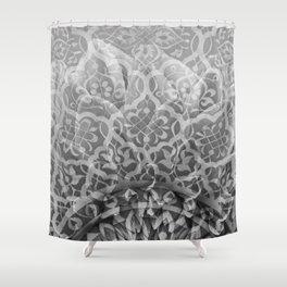 Foral Mosaic Pattern black & white Shower Curtain