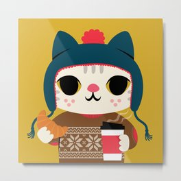 Holiday - Cat in a Sweater / Mustard Yellow Metal Print