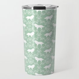 Border Collie silhouette minimal floral florals dog breed pet pattern mint and white Travel Mug