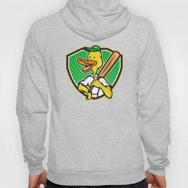 Duck Cricket Player Batsman Cartoon Hoody