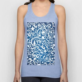 White On Blue Holiday Abstract Floral Design Unisex Tank Top