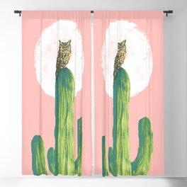 Quirky owl on saguaro cactus Blackout Curtain