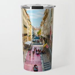 Beautiful Pink Street Downtown Lisbon City, Wall Art Print, Modern Architecture Art, Poster Decor Travel Mug