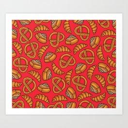 Freshly Baked Goods on Red Art Print