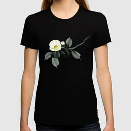White camellia sumi ink and japanese watercolor painting T-shirt