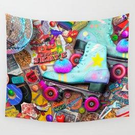 Super Retro Roller Skate Night Wall Tapestry