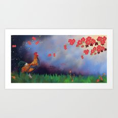 Rooster Blossoms Art Print