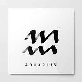 KIROVAIR ASTROLOGICAL SIGNS AQUARIUS #astrology #kirovair #symbol #minimalism #home #decor Metal Print