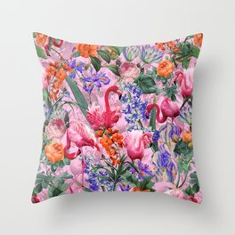 Floral and Flemingo VI pattern Throw Pillow