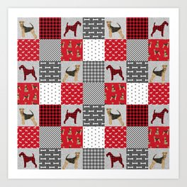 Airedale Terrier Cheater Quilt -  patchwork, airedale, dog, blanket, cute design Art Print