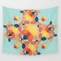 orange pattern Wall Tapestries featuring Orange Garden Pattern by VessDSign