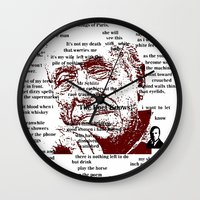 bukowski Wall Clocks featuring Charles Bukowski by brett66