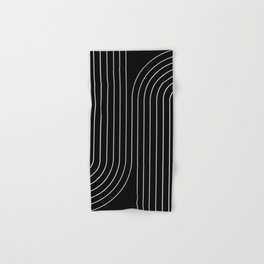 Minimal Line Curvature - Black and White II Hand & Bath Towel