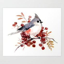 Titmouse and Berries, red fall colors, birds and flowers vintage style east coast Art Print