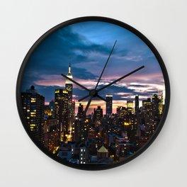 New York City By Night Wall Clock