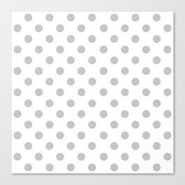 Polka Dots (Gray & White Pattern) Canvas Print