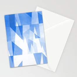 Abstract Blue Geometric Mountains Design Stationery Cards