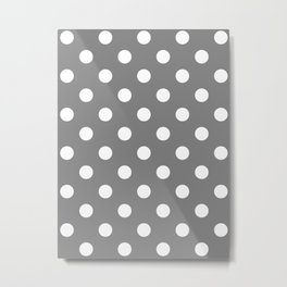 Polka Dots - White on Gray Metal Print
