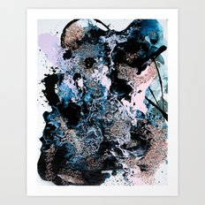 Pink, Indigo, Purple, Blue, and White Fluid Acrylic Abstract Painting 2 Art Print
