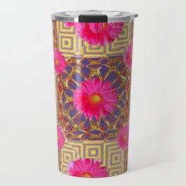 Fuchsia Gerbera Flowers & Grey Patterns Travel Mug