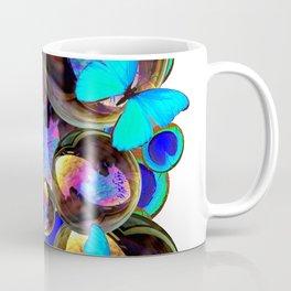 IRIDESCENT BLACK BUBBLES, BLUE BUTTERFLIES,PEACOCK ART Coffee Mug